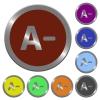 Color decrease font size buttons - Set of color glossy coin-like decrease font size buttons.