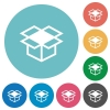 Flat open box icons - Flat open box icon set on round color background.