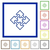 Puzzles framed flat icons - Set of color square framed puzzles flat icons