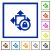 Set of color square framed Size lock flat icons - Size lock framed flat icons