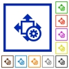 Set of color square framed Size settings flat icons - Size settings framed flat icons
