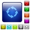Color rotate left square buttons - Set of rotate left color glass rounded square buttons