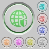 Internet security push buttons - Set of color internet security sunk push buttons.