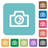 Flat camera icons - Flat camera icons on rounded square color backgrounds.
