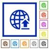 Upload to the internet framed flat icons - Set of color square framed upload to the internet flat icons