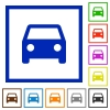 Car framed flat icons - Set of color square framed car flat icons
