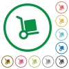 Parcel delivery outlined flat icons - Set of parcel delivery color round outlined flat icons on white background