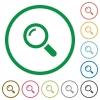 Magnifier outlined flat icons - Set of magnifier color round outlined flat icons on white background