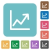 Flat line graph icons - Flat line graph icons on rounded square color backgrounds.