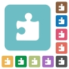 Flat puzzle piece icons - Flat puzzle piece icons on rounded square color backgrounds.