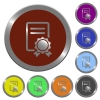 Color certificate buttons - Set of color glossy coin-like certificate buttons.