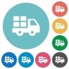 Flat transport icons - Flat transport icon set on round color background.