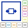 Width tool framed flat icons - Set of color square framed width tool flat icons