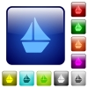 Color sailboat square buttons - Set of sailboat color glass rounded square buttons