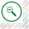 Zoom out outlined flat icons - Set of zoom out color round outlined flat icons on white background