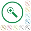 Zoom in outlined flat icons - Set of zoom in color round outlined flat icons on white background