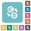 Flat Euro Bitcoin exchange icons - Flat Euro Bitcoin exchange icons on rounded square color backgrounds.
