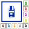 POS terminal framed flat icons - Set of color square framed POS terminal flat icons
