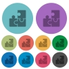 Color puzzle flat icon set on round background. - Color puzzle flat icons