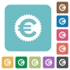 Flat Euro sticker icons - Flat Euro sticker icons on rounded square color backgrounds.
