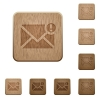 Important message wooden buttons - Set of carved wooden important message buttons in 8 variations.