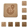 GPS location wooden buttons - Set of carved wooden GPS location buttons in 8 variations.