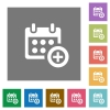 Add to calendar square flat icons - Add to calendar flat icon set on color square background.