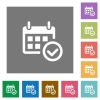 Calendar check square flat icons - Calendar check flat icon set on color square background.