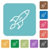 Flat launched rocket icons - Flat launched rocket icons on rounded square color backgrounds.