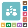 Flat send Dollar icons - Flat send Dollar icons on rounded square color backgrounds.