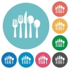 Flat cutlery icons - Flat cutlery icon set on round color background.