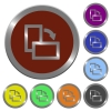 Set of color glossy coin-like rotate element right buttons - Color rotate element right buttons