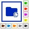 Copy folder framed flat icons - Set of color square framed Copy folder flat icons