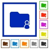 Folder owner framed flat icons - Set of color square framed Folder owner flat icons