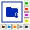 Folder owner framed flat icons - Set of color square framed Folder owner flat icons