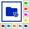 Undo folder operation framed flat icons - Set of color square framed Undo folder operation flat icons