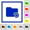 Undo folder operation framed flat icons - Set of color square framed Undo folder operation flat icons