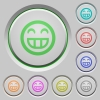 Laughing emoticon push buttons - Set of color Laughing emoticon sunk push buttons.
