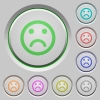 Sad emoticon push buttons - Set of color Sad emoticon sunk push buttons.