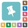 Flat push pin icons - Flat push pin icons on rounded square color backgrounds.