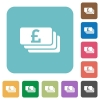 Flat Pound banknotes icons - Flat Pound banknotes icons on rounded square color backgrounds.
