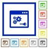 API key framed flat icons - Set of color square framed API key flat icons