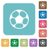 Flat soccer ball icons - Flat soccer ball icons on rounded square color backgrounds.