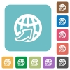 Flat worldwide icons on rounded square color backgrounds. - Flat worldwide icons