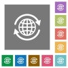 International square flat icons - International flat icon set on color square background.