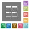 Mosaic window view mode square flat icons - Mosaic window view mode flat icon set on color square background.