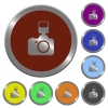 Color camera with flash buttons - Set of color glossy coin-like camera with flash buttons