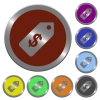 Color Dollar price label buttons - Set of color glossy coin-like Dollar price label buttons