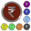 Color Indian Rupee sign buttons - Set of color glossy coin-like Indian Rupee sign buttons