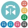 Flat horizontal flip icons - Flat horizontal flip icon set on round color background.